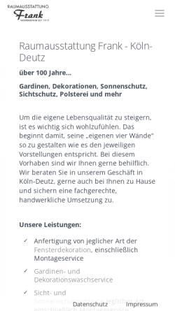 Vorschau der mobilen Webseite raumausstattung-frank-koeln.de, Raumausstattung Frank
