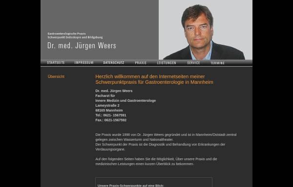 Vorschau von www.praxis-weers.de, Praxis Dr. Weers, Gastroenterologe in Mannheim
