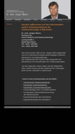 Vorschau der mobilen Webseite www.praxis-weers.de, Praxis Dr. Weers, Gastroenterologe in Mannheim