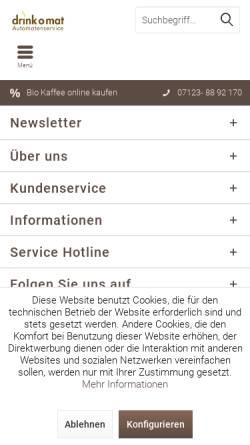 Vorschau der mobilen Webseite www.drinkomat.de, drink o mat (Verpflegungs-) Automatenvertrieb GmbH