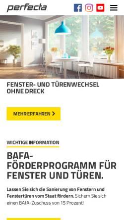 Vorschau der mobilen Webseite www.perfecta-fenster.de, Wohnungstüren renovieren und sanieren mit perfecta Fenster