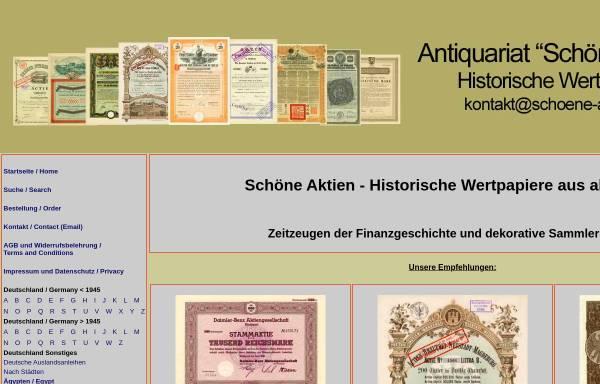 Vorschau von www.schoene-aktien.de, schoene-aktien.de - Antiquariat für alte historische Aktien und Wertpapiere