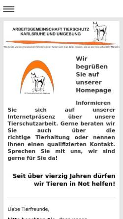 Vorschau der mobilen Webseite www.agtierschutz.de, AG Tierschutz und Begegnungsstätte Mensch - Hund