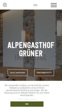 Vorschau der mobilen Webseite www.gruener-soelden.com, Alpengasthof Grüner