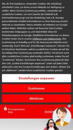 Vorschau der mobilen Webseite www.ksk-koeln.de, Kreissparkasse (KSK) Köln