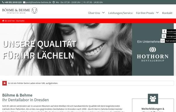Vorschau von www.boehme-behme.de, Böhme & Behme Dentaltechnik GmbH Dresden