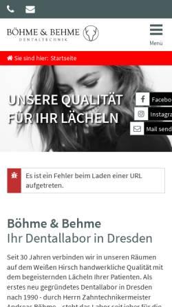 Vorschau der mobilen Webseite www.boehme-behme.de, Böhme & Behme Dentaltechnik GmbH Dresden