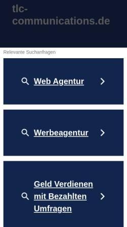 Vorschau der mobilen Webseite www.tlc-communications.de, tlc communications GmbH & Co. KG