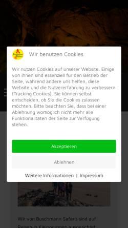 Vorschau der mobilen Webseite www.buschmann-safaris.de, Buschmann Safaris