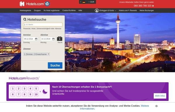 Vorschau von deutsch.hotels.com, Hotels.com