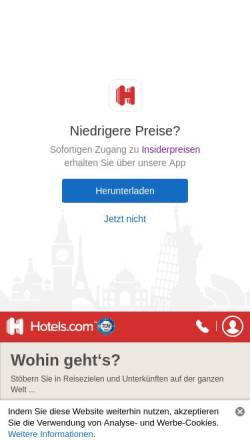 Vorschau der mobilen Webseite deutsch.hotels.com, Hotels.com