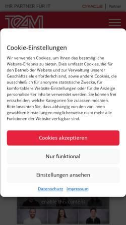 Vorschau der mobilen Webseite www.team-pb.de, Team Partner für Technologie und angewandte Methoden der Informationsverarbeitung GmbH