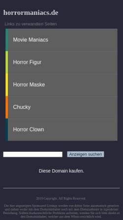 Vorschau der mobilen Webseite www.horrormaniacs.de, Horrormaniacs - Der Horror Shop