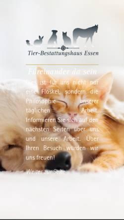 Vorschau der mobilen Webseite www.tbh-essen.de, Tierbestattungen / Bestattung von Tieren - Tierbestattungshaus Essen OHG