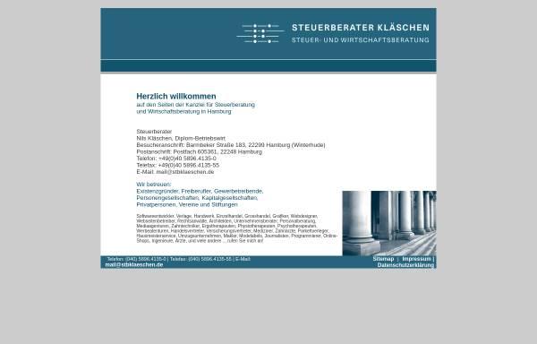 Vorschau von www.stbklaeschen.de, Steuerberater Diplom-Betriebswirt Nils Kläschen