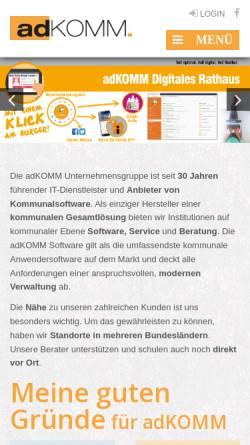Vorschau der mobilen Webseite www.adkomm.de, AdKomm Software GmbH