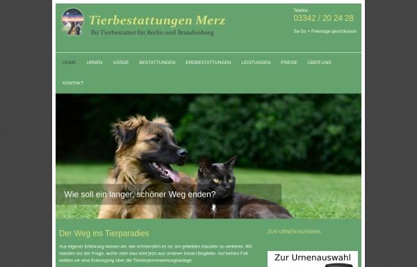 Vorschau von www.tierbestattungen-merz.de, Tierbestattungen Merz