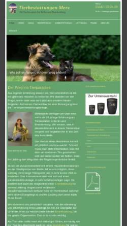 Vorschau der mobilen Webseite www.tierbestattungen-merz.de, Tierbestattungen Merz