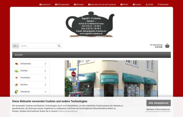 Vorschau von www.ingrids-teeladen.de, Ingrids Teeladen