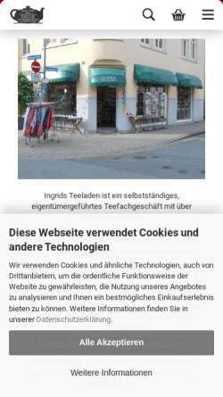 Vorschau der mobilen Webseite www.ingrids-teeladen.de, Ingrids Teeladen