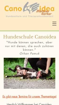 Vorschau der mobilen Webseite canoidea.de, Canoidea - Die andere Hundeschule