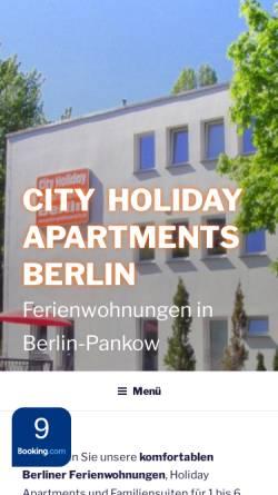 Vorschau der mobilen Webseite www.pension-guesthouse-berlin.de, City Guesthouse Pension Berlin