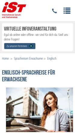 Vorschau der mobilen Webseite www.sprachreisen-irland.info, Sprachreise mit iSt - Auslandsaufenthalt in Irland