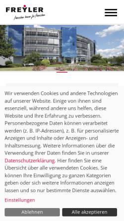 Vorschau der mobilen Webseite www.freyler.de, Individuelle Bürogebäude - Bauunternehmen Freyler