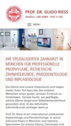 Vorschau der mobilen Webseite www.prof-riess.com, Implantologe Prof. Riess - Spezialist für Aesthetische Zahnheilkunde