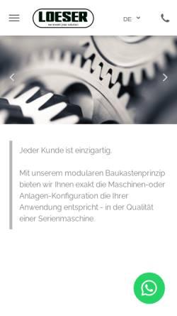 Vorschau der mobilen Webseite www.loeserkg.de, Waldemar Löser KG - Schleifmaschinen und Handschleifmaschinen