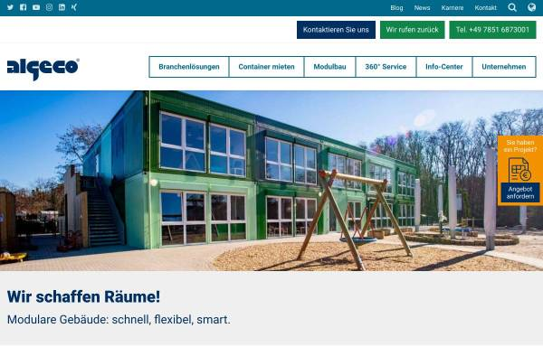 Vorschau von www.algeco.de, Containeranlagen von Algeco - die schnelle und kostengünstige Lösung