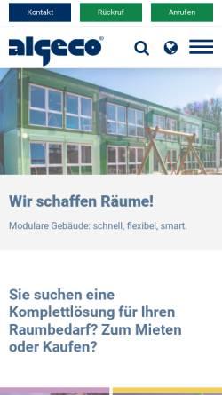 Vorschau der mobilen Webseite www.algeco.de, Containeranlagen von Algeco - die schnelle und kostengünstige Lösung