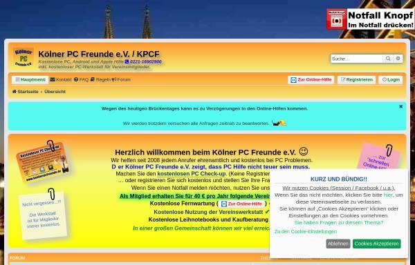 Vorschau von koelnerpcfreunde.de, Kostenlose PC-Hilfe-Hotline des Kölner PC Freunde e.V.