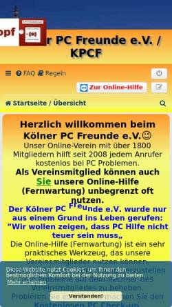 Vorschau der mobilen Webseite koelnerpcfreunde.de, Kostenlose PC-Hilfe-Hotline des Kölner PC Freunde e.V.