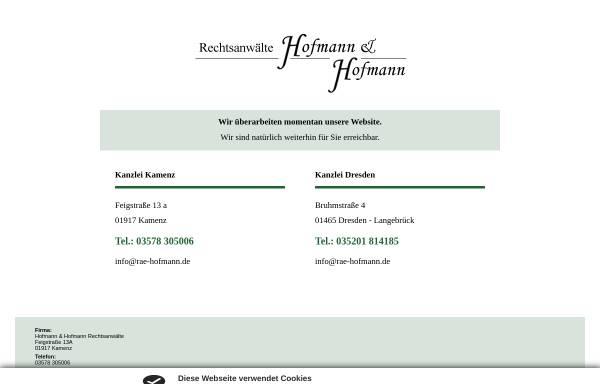 Vorschau von www.rae-hofmann.de, Rechtsanwälte Hofmann & Hofmann