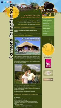 Vorschau der mobilen Webseite www.straussennest.net, Carmens Gästefarm - Ferien auf einer Straußenfarm
