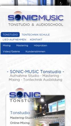 Vorschau der mobilen Webseite www.sonic-music.de, Sonic-Music Tonstudio & AudioSchool