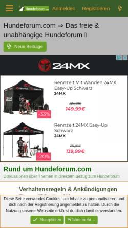 Vorschau der mobilen Webseite www.hundeforum.com, Hundeforum.com