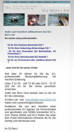 Vorschau der mobilen Webseite www.dj-ben-i.de, DJ-Ben-i