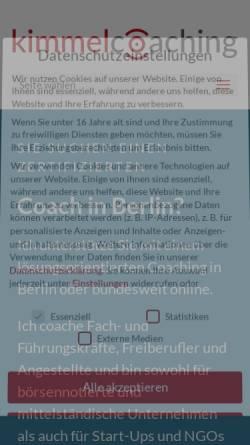 Vorschau der mobilen Webseite kimmelcoaching.de, kimmelcoaching - Esther Kimmel