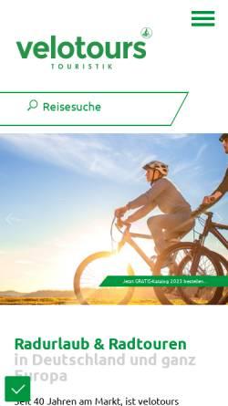 Vorschau der mobilen Webseite www.velotours.de, Velotours Touristik GmbH