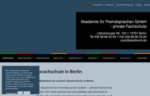 Vorschau von www.akafremd.de, Akademie für Fremdsprachen GmbH