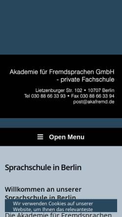 Vorschau der mobilen Webseite www.akafremd.de, Akademie für Fremdsprachen GmbH