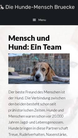 Vorschau der mobilen Webseite www.die-hunde-mensch-bruecke.de, Die Hunde-Mensch Brücke