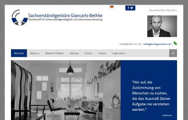 Vorschau von www.hotelgutachten.de, Sachverständigenbüro Giancarlo Bethke