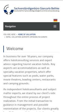 Vorschau der mobilen Webseite www.hotelgutachten.de, Sachverständigenbüro Giancarlo Bethke