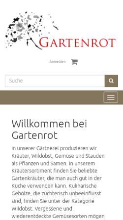 Vorschau der mobilen Webseite www.gartenrot.com, Kräutergärtnerei Gartenrot