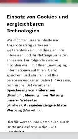 Vorschau der mobilen Webseite www.bosch-pt.de, Elektrowerkzeug von Bosch PT
