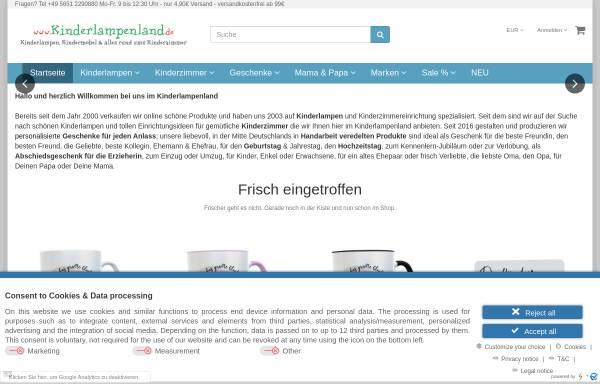Vorschau von www.kinderlampenland.de, Kinderlampenland: Sigikid, HABA und die Spiegelburg fürs Kinderzimmer