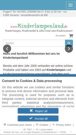 Vorschau der mobilen Webseite www.kinderlampenland.de, Kinderlampenland: Sigikid, HABA und die Spiegelburg fürs Kinderzimmer